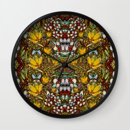 Fantasy forest and Fantasy plumeria flowers in peace Wall Clock