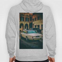 vintage jaguar car in vertical colorful vignette antique background Hoody