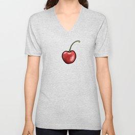 Cherry Cherries in Black, small Unisex V-Neck