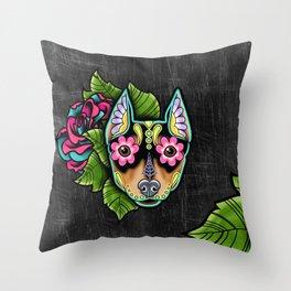 Min Pin Day of the Dead Miniature Doberman Pinscher Sugar Skull Dog Throw Pillow
