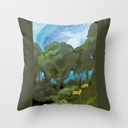 Brewing Storm With Sheep Throw Pillow