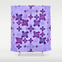 Deluxe Ornate Pattern Design in Blue and Fuchsia Colors Shower Curtain