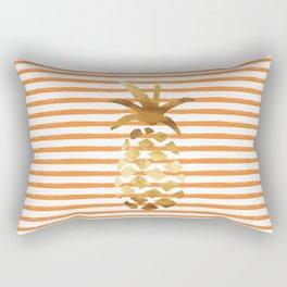 Pineapple & Stripes - Orange/White/Gold Rectangular Pillow