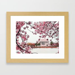 Jefferson Memorial Amid Cherry Blossoms Framed Art Print