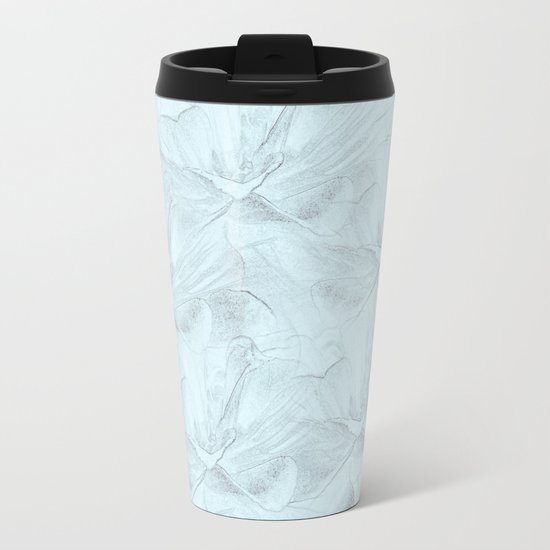 Delicate Mint Green Floral Abstract Metal Travel Mug