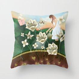 Origami Garden Throw Pillow