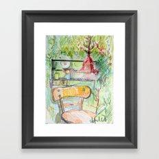 red lamp Framed Art Print