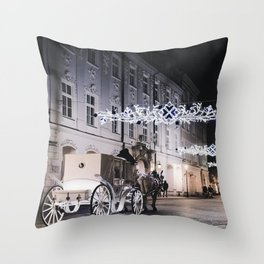 Winter Horse Carriage Ride (Color) Throw Pillow
