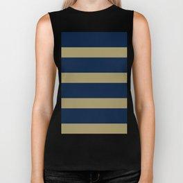 Blue and Gold Horizontal Stripes Biker Tank