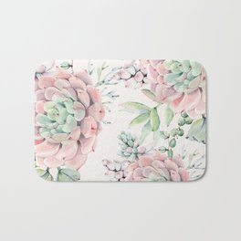 Pink Succulents on Cream Bath Mat