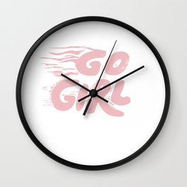 Go Girl vintage pink Wall Clock