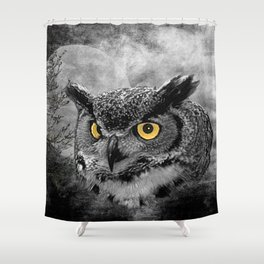 Great Horned Owl Bird Moon Tree Modern Country Farmhouse Art A415 Shower Curtain