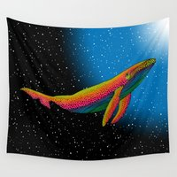 the whale Wall Tapestries featuring Whale by Luna Portnoi
