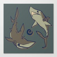 sharks Canvas Prints featuring Sharks by Anya McNaughton