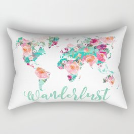 Wanderlust watercolor world map Rectangular Pillow
