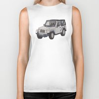 jeep Biker Tanks featuring Jeep Wrangler 2012 by Megan Yiu