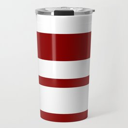 Mixed Horizontal Stripes - White and Dark Red Travel Mug