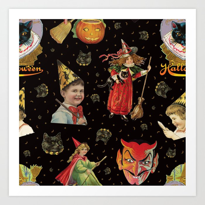 Vintage Halloween Party in Black Cat + Gold Celestial Art Print by  elliottdesignfactory