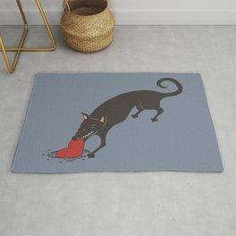 Black Dog burying a Heart Rug