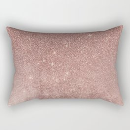 Girly Glam Pink Rose Gold Foil and Glitter Mesh Rectangular Pillow