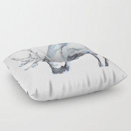 Watercolor Reindeer Sketch Floor Pillow