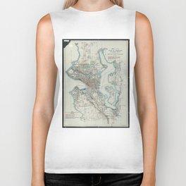 Vintage Map of Seattle Washington (1911) Biker Tank