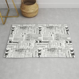 Black And White Collage Of Grunge Newspaper Fragments Rug