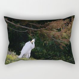 Great White Egret with Autumn Colors Rectangular Pillow