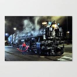 Signaling With Lantern. Lantern Up. UP 9000. Union Pacific. Steam Train Locomotive. © J. Montague. Canvas Print