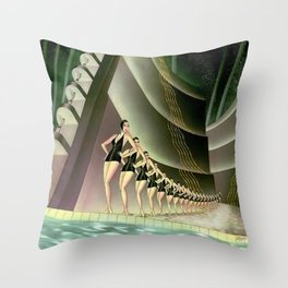 'We Came Here to Shine' - Billy Rose's Acquacade Art Deco 1920's Theatrical Portrait Throw Pillow