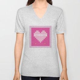 Pink Kawaii Undertale Determination pixel heart Unisex V-Neck