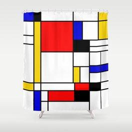 Bauhouse Composition Mondrian Style Shower Curtain