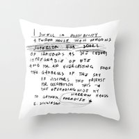 emily rickard Throw Pillows featuring EMILY by When the robins came