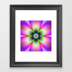 Neon Flower in Green and Pink Framed Art Print