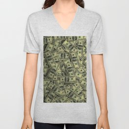100 dollar cash get rich Unisex V-Neck