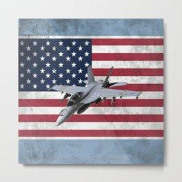 F18 Fighter Jet American Flag Metal Print