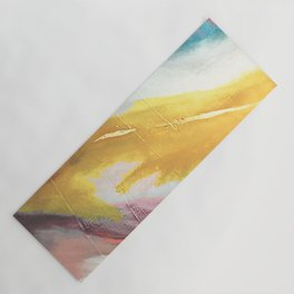Ambition: a colorful abstract piece in bold yellow, blue, pink, red, and gold Yoga Mat