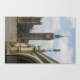 Elizabeth tower and the lights of Westminster bridge Canvas Print