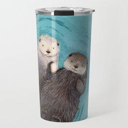 Otterly Romantic - Otters Holding Hands Travel Mug