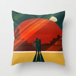 SpaceX Travel Poster: Phobos and Deimos, Moons of Mars Throw Pillow