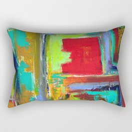 The never ending Maze: Bright Multi Color Abstract Painting Rectangular Pillow
