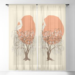 weeping willow, pelican and sun Sheer Curtain