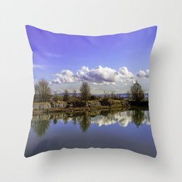 Manor house landscape Throw Pillow