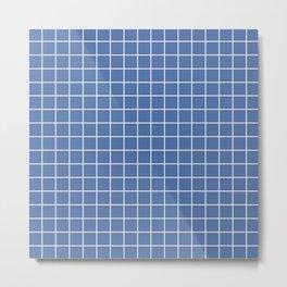 Blue yonder - blue color - White Lines Grid Pattern Metal Print