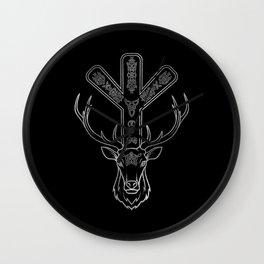 Algiz  Rune and Deer in Silver Wall Clock
