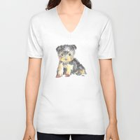 yorkie V-neck T-shirts featuring Yorkie Pup by The Painted Lace