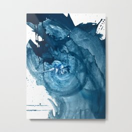 4 am Thoughts [3]: a minimal abstract painting in blue by Alyssa Hamilton Art Metal Print