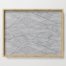 Waves in Charcoal Serving Tray