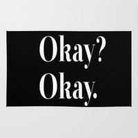 okay Area & Throw Rugs featuring Okay? Okay. White typography.  by Poppo Inc.