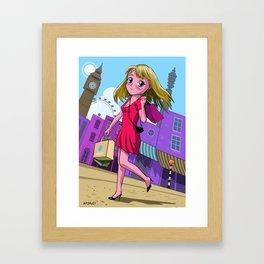 London Manga shopping girl Framed Art Print